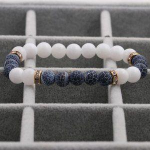 3/$20 New White & Navy Blue Stone Bracelet
